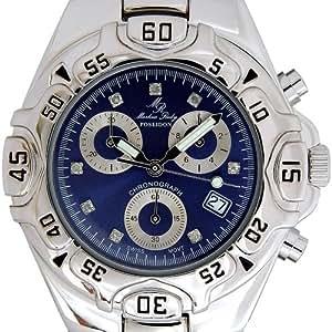 Markus Ruby Poseidon - Montre Homme - Chronographe Suisseà Quartz - Acier inoxydable plaqué platine - Marquage des heures avec 8 diamants.