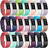Gogoings para Correa Fitbit Charge 2 Pulsera Ajustable Correa de Reemplazo Deportivo Compatible con Fitbit Charge2 para Mujeres Hombres (Sin Reloj) (Large: 6.7'- 8.1', 21 Colores)