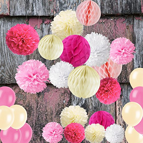 Wartoon Seidenpapier Pompons Blumen Ball, Luftballons und Papierlaterne Dekorpapier Kit für Geburtstag, Hochzeit, Baby Dusche, Hauptdekorationen, Partei Dekoration - 28 Stück ( Rosa )
