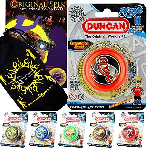 Duncan PRO-YO YoYo - Pro Anfänger Yo Yo + Original Spin Yo Yo Tricks DVD + Reisetasche! Holzachse Yo-Yo, Schnelle Antwort 2A Kunststück (Grün) (Yo Duncan Proyo Yo)