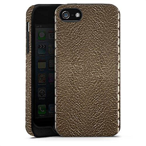 Apple iPhone X Silikon Hülle Case Schutzhülle Braunes Leder Look Lederstruktur Tough Case matt