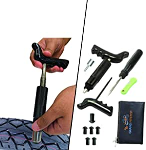 Grandpitstop Tubeless Tire Puncture Repair Kit With Mushroom Plugs For Motorcycle Car And Scooters Auto