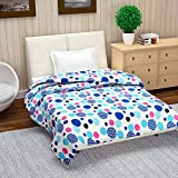 Reversible Microfibre Blanket/Quilt/Duvet/Comforter Light Easyweight, AC Single Dohar, Dark Blue, Sky Blue & Pink - Divine Casa