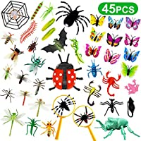 Vykor Insect Figures Toys 45PCS Bugs Toys For Kids,Plastic Bugs and Insects For Children Insect Gifts Bugs Kit Kids Real Bugs and Butterflies Toys Insect Themed Party,Halloween Toys,Educational Gifts