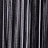 JEMIDI Fadenvorhang Tür Vorhang Gardine Schal Faden Türvorhang Fadengardine in 2 Größen (Schwarz, 90cm x 250cm)