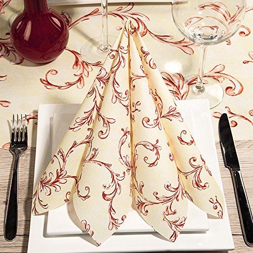 100 Tissue-Servietten Zellstoffservietten 33 x 33 cm 1/4-Falz 3-lagig Ornamentservietten von Mank