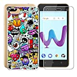 AQGG Coque Wiko Sunny 3 (5.0') Cover Crystal Souple Shell Housse Etui TPU+ Verre trempé Film Protection Silicone Anti-Scratch Case Protection Gel pour Wiko Sunny 3 (5.0') - (Cartoon Animaux)