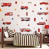 KAIRNE 32 Pcs Autocollant Mural Camion De Pompiers,Autocollant Muraux Voiture Pour Chambre D'enfants/Bébé,Sticker Muraux Véhi