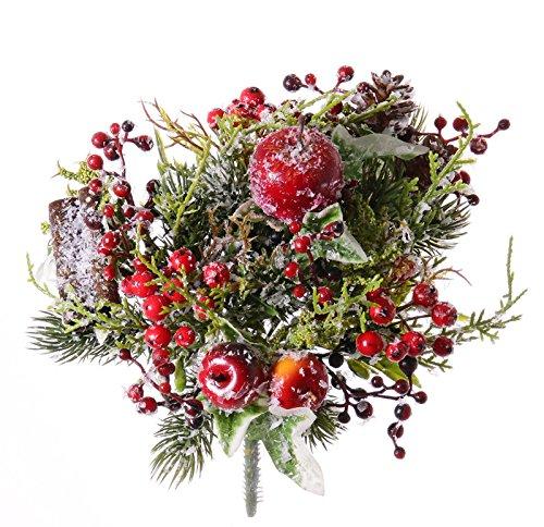 Artplants mazzo invernale artificiale jarle, mela, bacche, pigne, innevato, Ø20cm - fiore decorativo/ramo di fiore