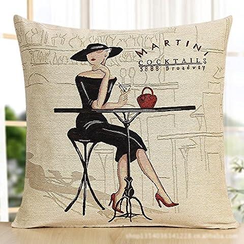 ™ editor spazio Martini cocktail di donna nera con borsa rossa stile decorativo cuscino per custodia misto cotone poliestere beige cuscino quadrato cover (44,96 cm X 44,96 cm)