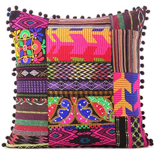 Eyes of India - Negro Dhurrie Patchwork Almohada Decorativa