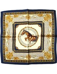 """Nella-Mode Elegantes & modisches NICKITUCH, Tuch, Halstuch Pferde Design: """"Springpferd"""", 53x53 cm; BLAUER Rand"""