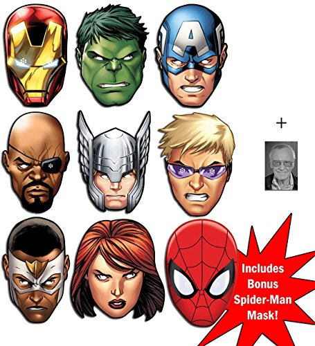 Marvel's The Avengers ultimative Superheld Packung von 8 Karte Partei Gesichtsmasken (Maske) Hulk, Captain America, Nick Fury, Thor, Iron Man, Black Widow, Hawkeye, Falcon + Bonus Spider-Man Maske und Enthält 6X4 (15X10Cm) starfoto