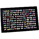 Pendientes para niñas, XiYee 100 Pares Hecho a Mano Hipoalergénico Color mezclado Cerámica suave Animales Pendientes de Botón
