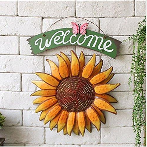 SOEKAVIA 30 * 38.5cm Vintage hängend Schmetterling Sonnenblume Willkommensschild Sonnenblume Dekor für Tür hängend Haus Decor Vintage-sonnenblume-dekor