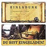 Einladungskarten Erwachsene Geburtstag 12 Stück Einladungen Karten - Piraten Flaschenpost