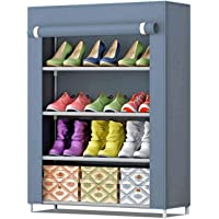 Aysis Multipurpose Portable Folding Shoes Rack Multi-Purpose Shoe Storage Organizer Cabinet Tower with Iron and Nonwoven Fabric with Zippered Dustproof Cover (4-Layer-Grey)