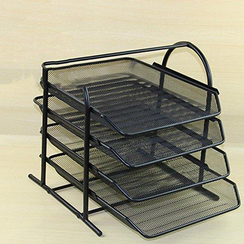 Desktop-Racks Büro liefert vier-Tier-Palette Finishing-Rahmen Metall Eisen Mesh A4 Datei Sitz Pumpen DatenrahmenEinfach und stilvoll (Datei Rack Für Die Schublade)