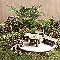 Fortag Miniatur Woodland Outdoor Fairy Garten Kollektion Möbel mit 2x Hocker / Stuhl / Tisch / hölzerne Tür Arch / Straßenschilder / Straßenlaternen / Brücke Set von 8 Stück Hand-painted Kit von Fortag bei Du und dein Garten