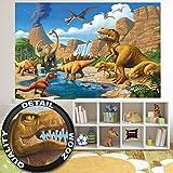 great-art Fototapete Kinderzimmer Abenteuer Dinosaurier - Wandbild Dekoration Dinowelt Comic style jungle adventure Dinosaurus Wasserfall I Foto-Tapete Wandtapete Fotoposter Wanddeko by (210x140 cm)