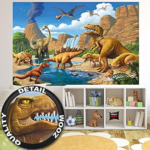 Aventure Dinosaure murale chambres enfants Décoration murs comiquel aventure Dino mondiale style jungle cascade Dinosaurus comme photo fond écran murale photo mur Décorer par GREAT ART (210 cm x 140 cm)