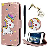 iPod Touch 5 Case ,iPod Touch 6 Case ,Lanveni Premium PU Leather Wallet Flip Cover Case Cute Unicorn Design Shockproof Shell With Magnetic Clasp Card Slots Cash Holder Stand Case & Dust Plug & Stylus For iPod Touch 5th/6th Generation , Rose Gold