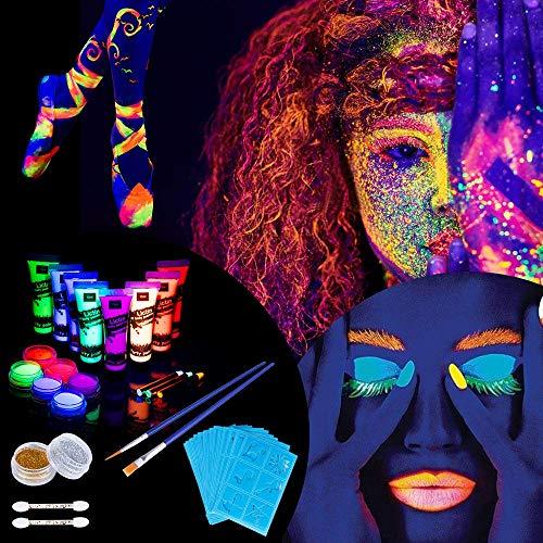 Lictin 43Pcs Pintura Corporal Pintura arte corporal UV Luz Negra Fosforescente maquillaje Arte maquillaje...