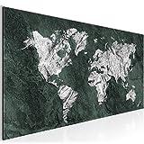 Bilder Weltkarte World Map Wandbild 100 x 40 cm Vlies - Leinwand Bild XXL Format Wandbilder Wohnzimmer Wohnung Deko Kunstdrucke Grün 1 Teilig -100% MADE IN GERMANY - Fertig zum Aufhängen 002912c