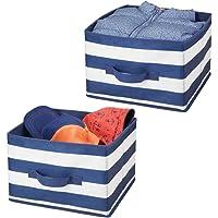 mDesign boîtes de Rangement (Lot de 2) pour vêtements, Jouets, etc. – boîte en Tissu Moyenne en Fibre synthétique à…
