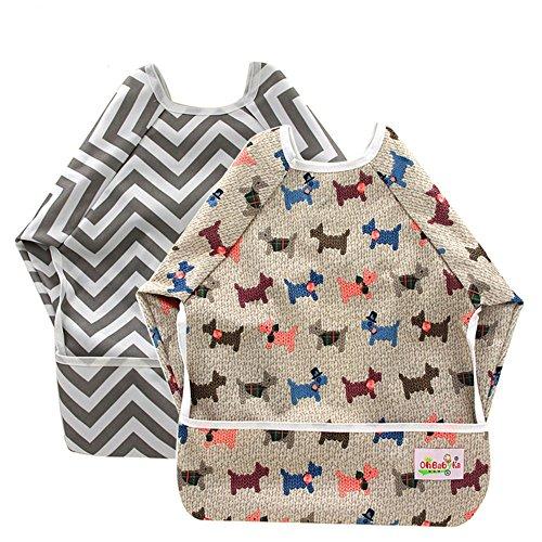 tes Lätzchen für Babys, mit Ärmeln und Tasche, für Babys im Alter von 6–24Monaten ()