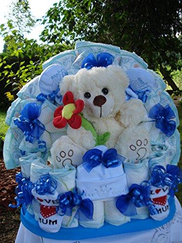 """Windeltorte""""Teddybär mit Blume und Babyset,blau,Geburt,Taufe,Hochzeit"""