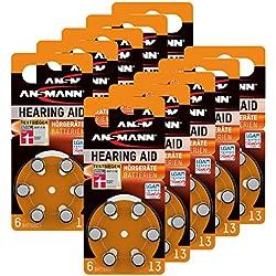 60 piles ANSMANN pour appareils auditifs / Pack de 10x6 piles zinc-air 1,4V - modéle 13 / Pile bouton pour appareils auditifs présentant une bonne autonomie