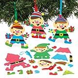 Baker Ross Mix & Match-Bastelset für Deko-Anhänger Weihnachtself Zum Selbstgestalten und Aufhängen zu Weihnachten – Kreatives Moosgummi-Bastelset für Kinder (6 Stück)