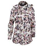 Brave Soul Rave Damen Jacke mit Blumenmuster, wasserabweisend, durchgehender Reißverschluss (36 DE) (Blumenmuster)