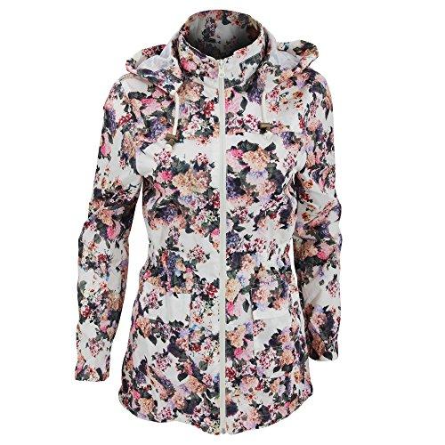 Brave Soul Rave Damen Jacke mit Blumenmuster, wasserabweisend, durchgehender Reißverschluss (48 DE) (Blumenmuster)