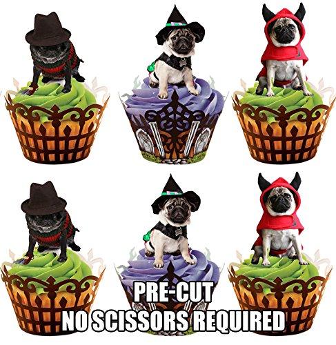 Vorgeschnittene Halloween Möpse In Kostümen – Essbare Cupcake Topper / Kuchendekorationen (12 (Fancy Dark Kostüme Dress Fairy)