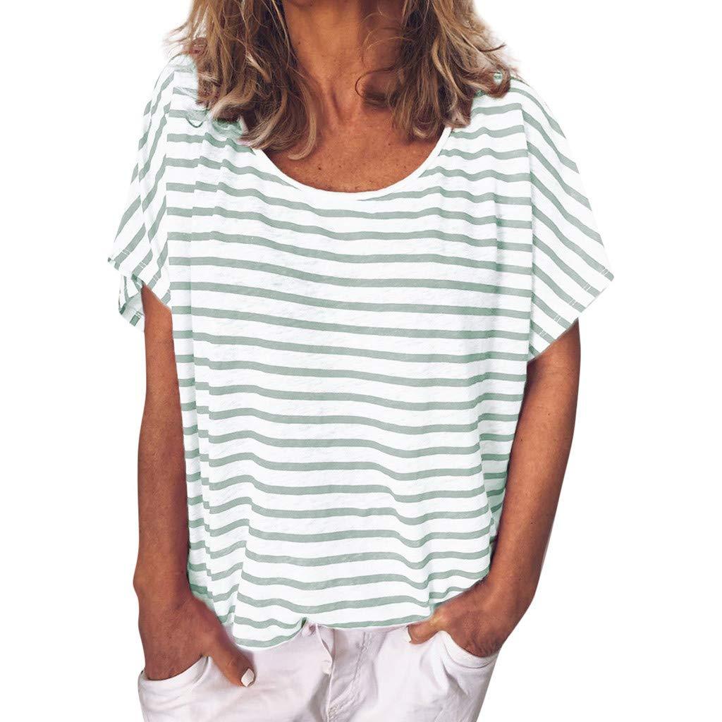 27fa0a744abfeb HCFKJ Camicia a Maniche Corte con Stampa O-Collo a Righe Casual Estiva da  Donna