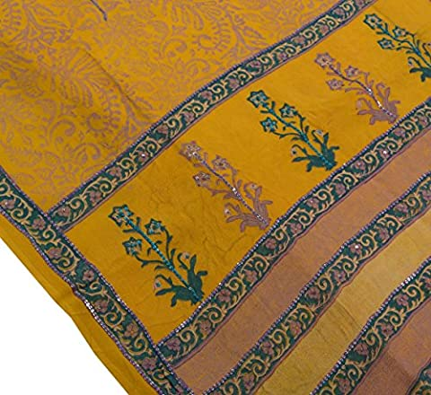 Vintage Saree Pure Georgette Silk Printed Sequin Embroidery Soft Fabric