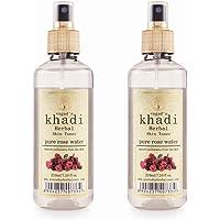VAGAD'S KHADI HERBAL GRAMODAYA Rose Water 210ml, Remove Pollutants and Impurities, Parabens Free (Pack of 2)