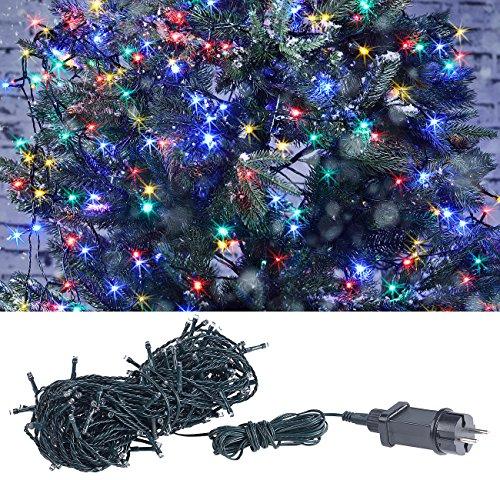 Lunartec Weihnachtslichterketten: LED-Lichterkette mit 160 LEDs für innen & außen, IP44, 4-farbig, 16 m (Christbaumkerzen-Lichterkette)