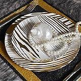 LZK Vajilla, Porcelana con Forma De Cebra Cromada, Plato, Plato, Plato (Dos Discos), Sala De Muestras, Vajilla,Oro,Pulgada