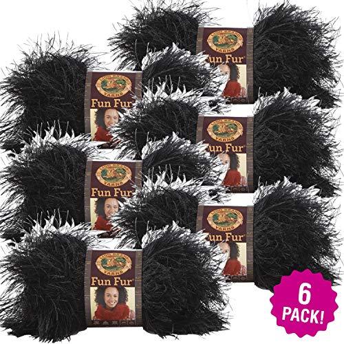ODDITIES Lion Brand Fun Fur Yarn 6/PK-Black -
