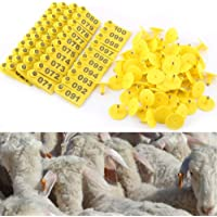 100 Etichette in plastica per Le Orecchie con Mucca di Maiale e Pecore AUOKER Colore Blu e 1 applicatore Blu