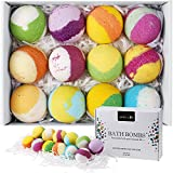 Bath Bombs Gift Set, Multi-Colored Vegan Bath Bomb Kit for Kids & Teens with Organic Essential Oils, Exclusive Floating Fizzies with Rich Bubbles, Best Gift Ideas - Pack of 12