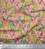 Soimoi Orange Viskose Chiffon Stoff Protea Blume & Kaktus