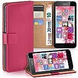 moex Nokia Lumia 630 | Hülle Pink mit Karten-Fach 360° Book Klapp-Hülle Handytasche Kunst-Leder Handyhülle für Nokia Lumia 630/635 Dual SIM Case Flip Cover Schutzhülle Tasche