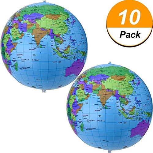 16 Zoll Inflatable Globe Aufblasbare Weltkugel Wasserball Kugel für den Pädagogischen Spielenden Strand, Bunt (10 Packung)