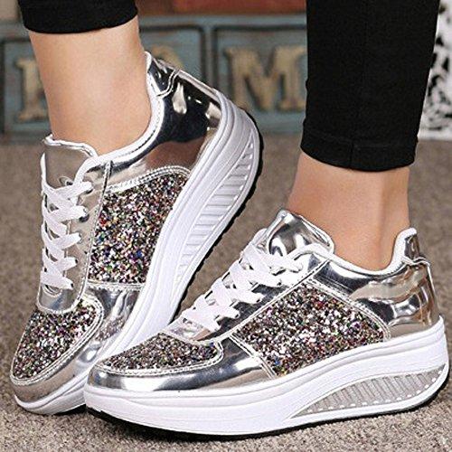 efe85ddaf7145 Beikoard Sneakers Donna con Zeppa