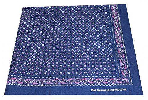 Tobeni 548 Bandana Kopftuch Halstuch Nickituch in 100 Baumwolle für Damen und Herren Farbe Heide Marine Grösse 54 cm x 54 cm (Groß Heide)