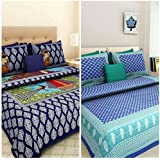 Combo Bedsheets For Double Bed Cotton Suraaj Fashion 100% Jaipuri Cotton Combo Set Of 2 Double Bedsheets With 4 Pillow Covers
